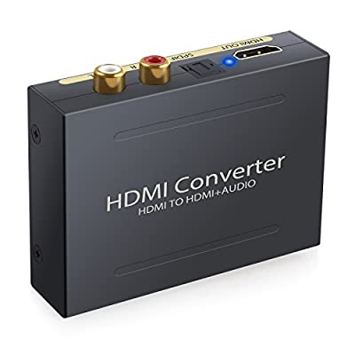 ESYNIC 1080P HDMI Audio Extractor HDMI to HDMI Optical TOSLINK SPDIF and Analog RCA L/R Stereo Outputs Converter Mini 3D HDMI Audio Splitter Adapter for Apple TV Blu-ray Player