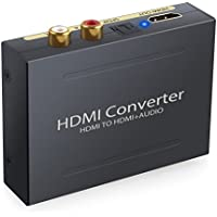 ESYNIC 1080P HDMI to HDMI Optical TOSLINK SPDIF and Analog RCA L/R Stereo Audio Extractor Converter Mini 3D HDMI Audio Splitter Adapter for Apple TV Blu-ray Player
