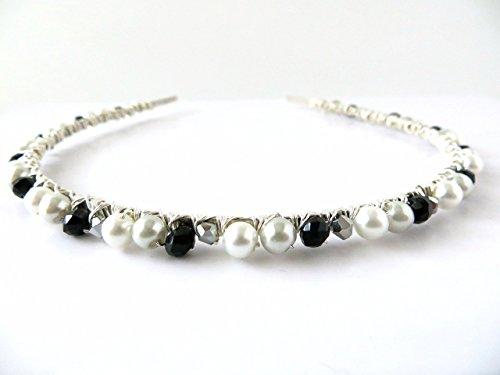 Swarovski White/Black/Silver Jeweled Bridal Headband