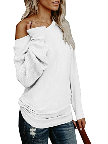 Umeko Womens Off The Shoulder Sweater Oversized Knit Long Sleeve Sweaters Tunic Tops (X-Large, White) (Sweater Boatneck Oversized)