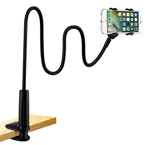 Soporte para telefono movil, lonzoth Telefono Movil Soporte Cuello de cisne Soporte universal Soporte para iPhone Smartphone Telefono Movil (Phone Stand Black)