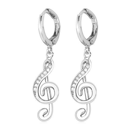 Women Platinum Plated Music Earrings