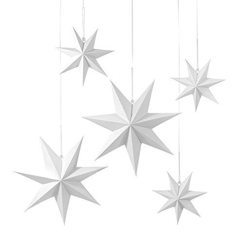 5 Faltsterne - matt weiß, 3 x Ø 25 cm, 2 x Ø 40 cm 7 Zacken - / Papiersterne / Falt Weihnachtssterne / Dekosterne / Fenstersterne