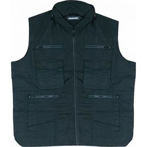 (HUMVEE Campco Ranger Vest with Mesh Back and Hideaway Hood, Black, X-Large)
