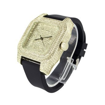Mens Fully Iced Out Yellow Finish Unique Techno Pave Joe Rodeo Lab Diamond Watch