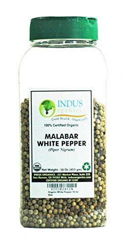 Indus Organics Malabar White Peppercorns, 1 Lb Jar, Premium Grade, High Purity, Freshly Packed