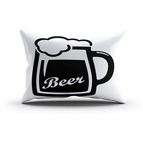 Houlor Throw Pillow Cover 12 X 20 Inches Beer Mug Icon Glass Silhouette Drink Pub Bar Alcohol Draught Isolated Boudoir Cushion Pillowcase One Side Print for Living Room Bedroom Dorm