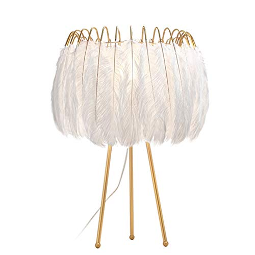 DD Table Lamp Nordic Modern Creative Feathers Desk Lamp Romantic Fashion Personality Net Red Princess Room Ins Girls Bedroom Bedside Lamp
