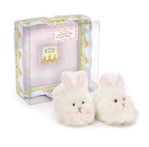 Bunnies by the Bay Cuddle Toe Slippers, White, 3-6 Months