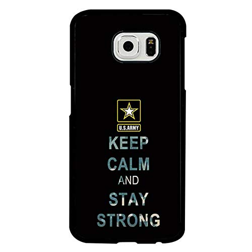 FIDIKO US Army Quote Hard Case Compatible Galaxy S6 Edge, Cute Keep Calm and Stay Strong Hard Plastic Durable | Anti Scratch Hard Back Compatible Samsung Galaxy S6 Edge]()