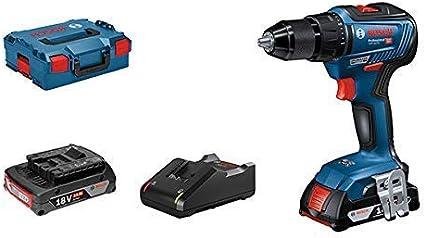 Bosch Professional GSR 18V-55 - Atornillador a batería (2 baterías x 2.0 Ah, 18V, 55 Nm, en L-BOXX)