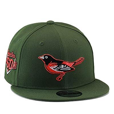 New Era 9fifty Baltimore Orioles Snapback Hat Cap Army Green/Orange