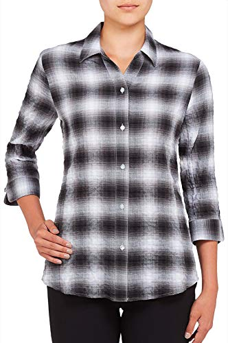 Nygård Collection Herringbone Plaid Shirt with 3/4 Sleeve & Y-Neck Button Front Closure GreyOmbre ()