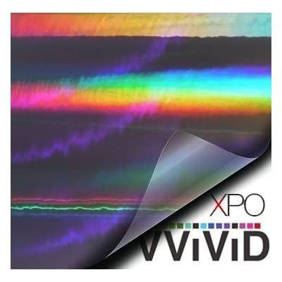 VViViD Black Holographic Vinyl Wrap Rainbow Finish Roll DIY Air-Release Adhesive Film (.5ft x 5ft): Automotive
