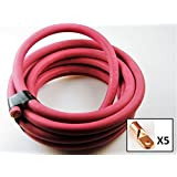 Crimp Supply Ultra-Flexible Car Battery/Welding Cable – 6 Gauge, Red – 25 Feet – and 5 Copper Lugs