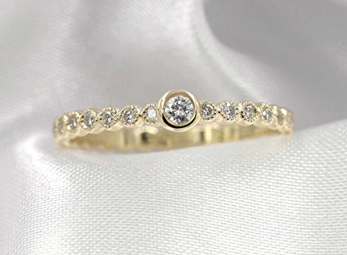 Bezel Set Diamond Beaded Dainty Ring/Half Eternity Stacking Ring/Minimalist Engagement Ring/Rose Gold 0.20Ct. Diamond Wedding Ring/Simple Diamond Band