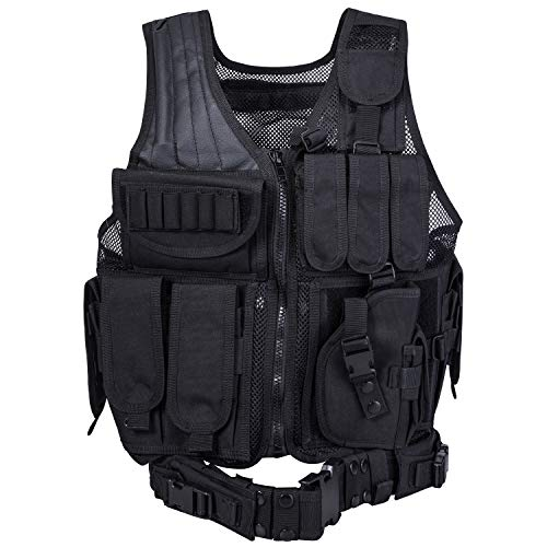 REEHUT Breathable Tactical Vest with Numerous Pouches - Combat Training Vest Adjustable for Adults Suitable for Special Mission, Combat Training, Field Operations and Military Fans (Tac Vest Pouches)