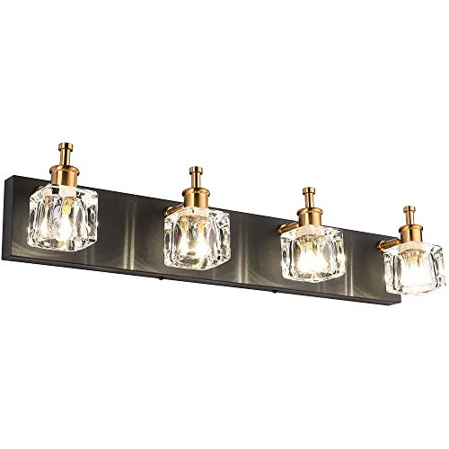 PRESDE Bathroom Vanity Light Fixtures Over Mirror Modern LED 4 Lights Black Wall Mirror Lighting