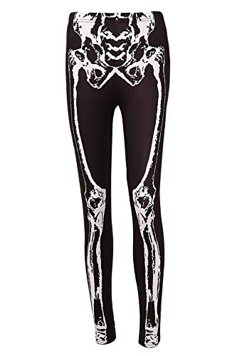DREAGAL Skeleton Halloween Costume Leggings - Skeleton Tights for Women S -
