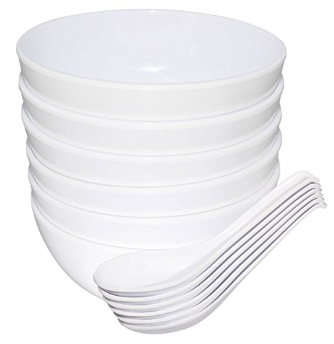 Chef Miso Set of Six Large Melamine Soup Bowls and Spoons White 24 Ounce