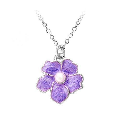 Tiny Myosotis Forget Me Not Flower Charm Wedding Gift Pendant Necklace 3 Tone 18