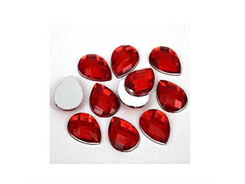Gelaiken Nail Tool 3D Glow Resin Flat Back Nail Art Decorations Teardrop Pear Rhinestones (Red)