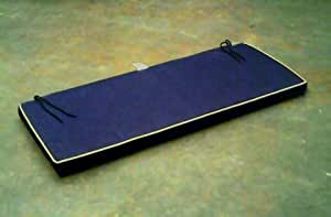 Zippy Waterproof Garden Furniture Bench Cushion - 3str - Navy Blue + Beige piping