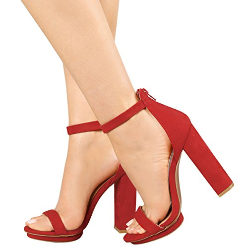 Wild Diva Womens Open Toe High Chunky Heel Ankle Strap Platform Sandal Pumps Shoes 8 Red