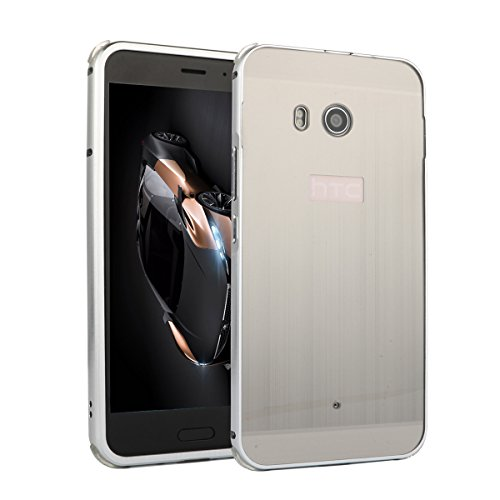 HTC U11 Funda, TOTOOSE para HTC U11 Ultra delgado Aluminio de lujo Marco de metal Bumper Caso con A prueba de choques Hard PC Back Protector de la cubierta Negro Gris