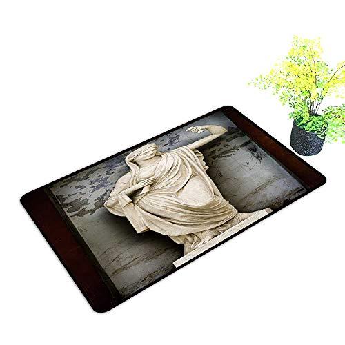 (Entrance Door Mat Large Sculpture Athene Ancient Greek Mythology The Goddess of Wisdom and fair war. Dress Up Your Doorway W21 x H11)