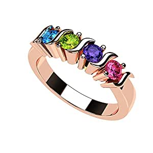 NANA S-Bar Mothers Ring 1 to 6 Simulated Birthstones- 10k Rose Gold - Size 4