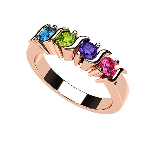 Central Diamond Center Nana S-Bar Mothers Ring 1 to 6 Simulated Birthstones- 10k Rose Gold - Size 7