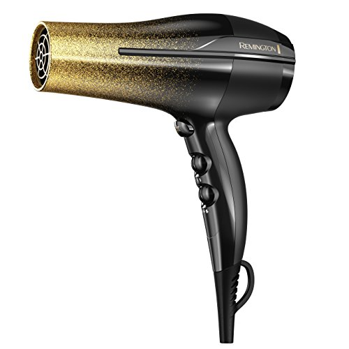 Remington D5951 Ultimate Frizz Control Hair Dryer with Ionic and Ceramic Technology, Black Gold Glitter