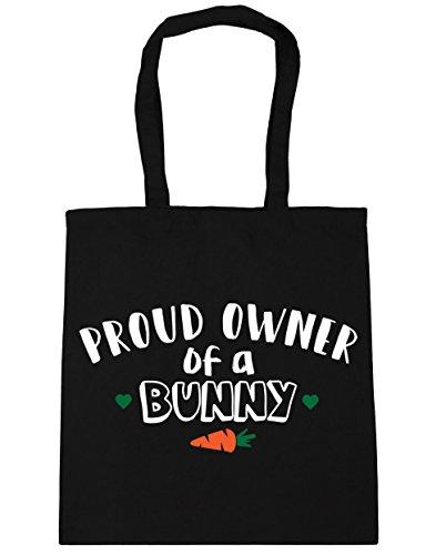 HippoWarehouse orgulloso propietario de un conejo bolsa de la compra bolsa de playa 42cm x38cm, 10litros negro