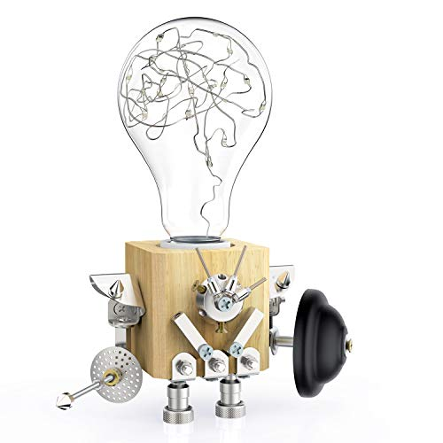Robot Table Desk Lamp Light Fixture with Robot Wood Base, Creative Table Light, Industrial Home Decor Lighting, Personalized Creative Decoration Home Lamps Gift (Anti Lamp Gravity)