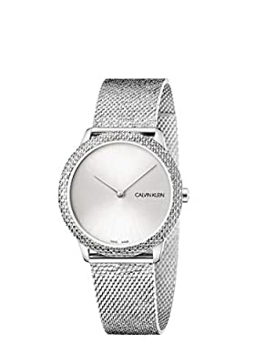 Calvin Klein Minimal Women's Stainless Steel Pattern Mesh Bracelet with Silver Dial Watch