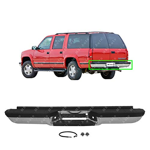 MBI AUTO - Chrome, Steel Rear Bumper Direct Fit for 1992-2000 Chevy Suburban GMC Yukon 92-00, GM1102294 - Gmc C1500 Rear Bumper