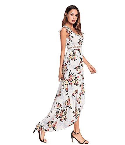 Bajo V Profundo Playa Estampado Vestido Sexy Antaina Blanco blanco Mujer Largo Gasa de Alto Bohemio Floral wg50gqXYnR