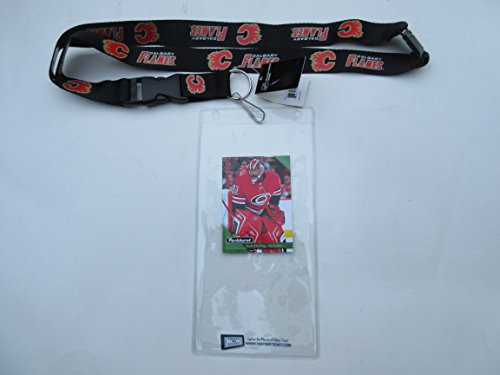 (CALGARY FLAMES OFFICIAL LANYARD KEYCHAIN WITH TICKET HOLDER PLUS COLLECTIBLE PLAYER)