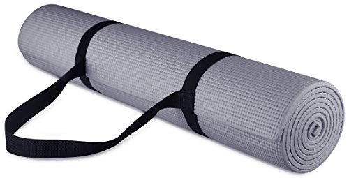 BalanceFrom GoYoga All-Purpose 1/4-Inch Eco Friendly High Density Non-Slip Exercise Yoga Mat with Carrying Strap (Gray)