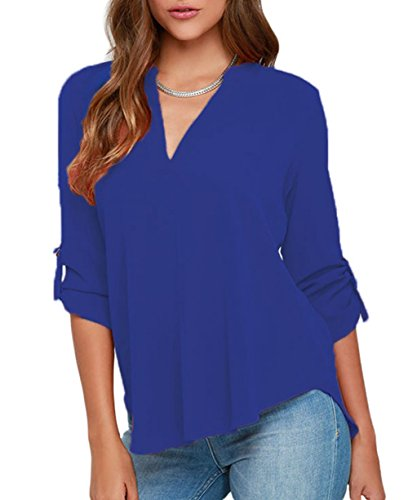LOSRLY-Womens-Loose-Solid-Chiffon-Blouses-V-Neck-Cuffed-Sleeve-Shirts-Tops