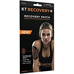 KT TAPE Recovery+ Kinesiology Drug-Free, Elastic Recovery Edema Patches, 4 Pack, Black