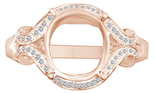 (AFFY 9X8mm Round Cut Natural Diamond Semi Mount Engagement Ring in 14K Solid Rose Gold)