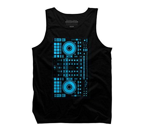 Design By Humans DJ blue Men's Medium Black Graphic Tank Top