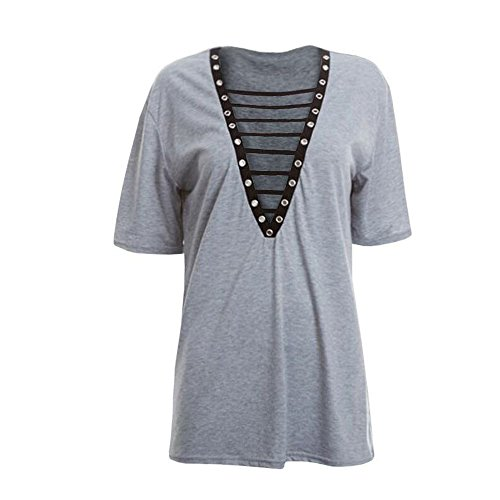 Club Dress Sleeve Lace Neck Sexy V Mini Women's up Grey T Top Short Dresses Geckatte Shirt wYA7qgc