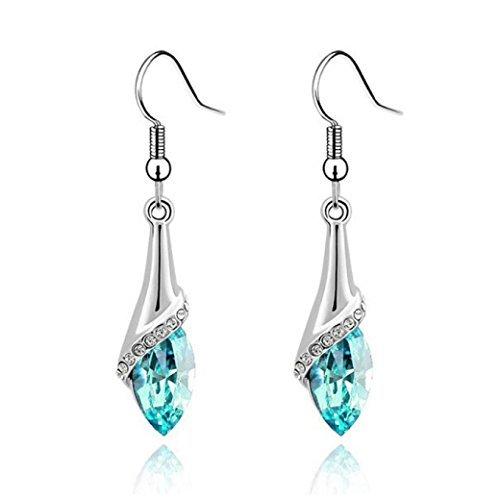 - Bestpriceam Elegant Women Lady Crystal Marquise Cut Teardrop Wedding Earrings Gift (Blue)