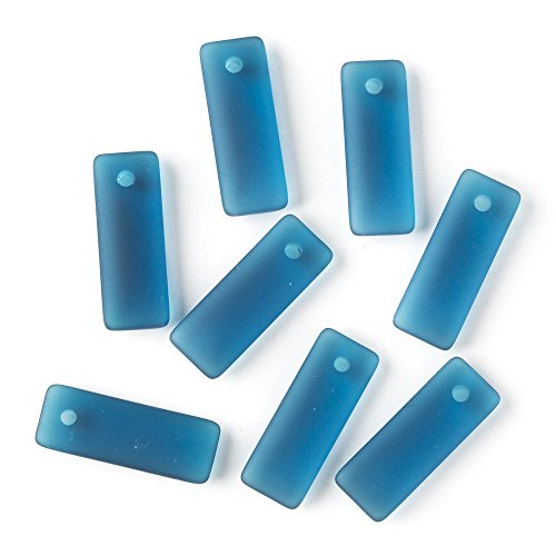 Cherry Blossom Beads Top Drilled Peacock Blue Cultured Sea Glass 12x32mm Rectangle Pendants - 8 Per ()