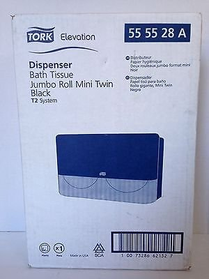 (TORK Elevation Bath Tissue Dispenser Jumbo Roll Mini Twin Black T2 555528A)