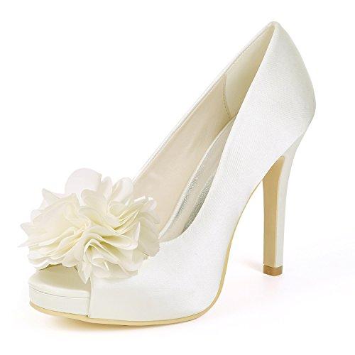 Flower Soirée De En De Peep Talons 6041 Hauts Mariage Pompes Ivoire Satin 02D Forme Ager Femmes Plate À Toe Chaussures rqABZrpw