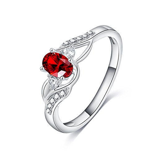 LuckyWeng Lab Created Oval Red Ruby Pave CZ Diamond Engagement Rings 3 Stone Twist Platinum Size 6 7 8 9